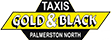 Taxis Gold & Black – THE REGION'S LARGEST LOCALLY OWNED TAXI COMPANY Logo